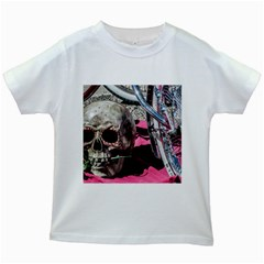 Skull and Bike Kids White T-Shirts