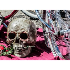 Skull and Bike Birthday Cake 3D Greeting Card (7x5)