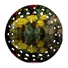 Cactus Flowers with Reflection Pool Round Filigree Ornament (2Side)