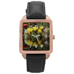Cactus Flowers With Reflection Pool Rose Gold Leather Watch