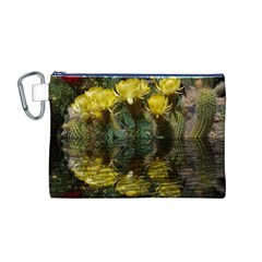 Cactus Flowers with Reflection Pool Canvas Cosmetic Bag (M)