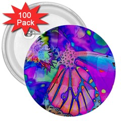 Psychedelic Butterfly 3  Buttons (100 pack)