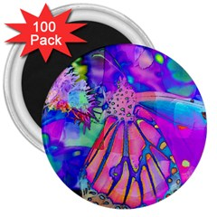 Psychedelic Butterfly 3  Magnets (100 pack)