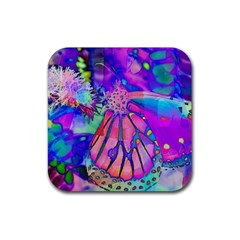 Psychedelic Butterfly Rubber Square Coaster (4 pack)