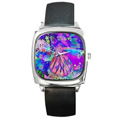 Psychedelic Butterfly Square Metal Watch