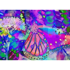 Psychedelic Butterfly Birthday Cake 3D Greeting Card (7x5)
