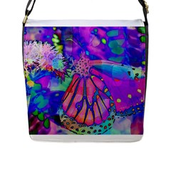 Psychedelic Butterfly Flap Messenger Bag (L)