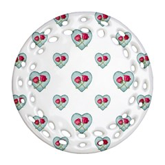 Love Ornate Motif Print Round Filigree Ornament (2Side)