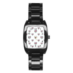 Love Ornate Motif Print Stainless Steel Barrel Watch
