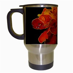 Marigold on Black Travel Mugs (White)