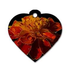 Marigold on Black Dog Tag Heart (One Side)