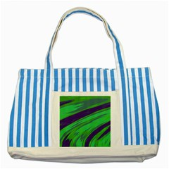 Swish Green Blue Striped Blue Tote Bag