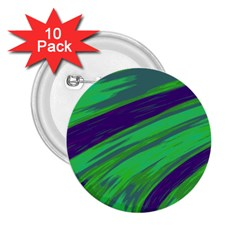 Swish Green Blue 2.25  Buttons (10 pack)