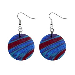 Swish Blue Red Abstract Mini Button Earrings