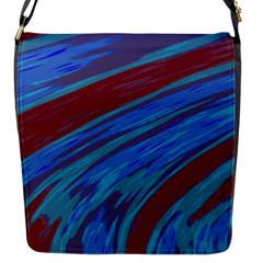 Swish Blue Red Abstract Flap Messenger Bag (S)