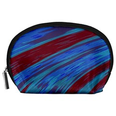 Swish Blue Red Abstract Accessory Pouches (Large)