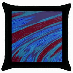 Swish Blue Red Abstract Throw Pillow Case (Black)