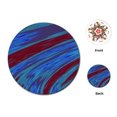 Swish Blue Red Abstract Playing Cards (Round)
