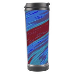Swish Blue Red Abstract Travel Tumbler