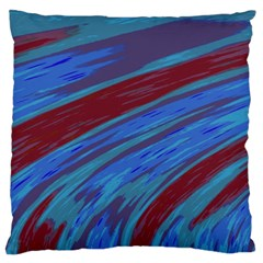 Swish Blue Red Abstract Large Flano Cushion Case (Two Sides)