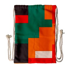 Rectangles and squares  in retro colors                                                                   Large Drawstring Bag