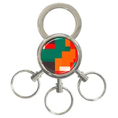 Rectangles and squares  in retro colors                                                                   			3-Ring Key Chain