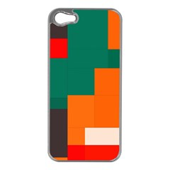 Rectangles and squares  in retro colors                                                                   Apple iPhone 5 Case (Silver)
