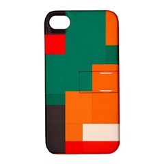 Rectangles And Squares  In Retro Colors                                                                   apple Iphone 4/4s Hardshell Case With Stand