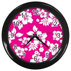 Pink Hawaiian Wall Clocks (Black)