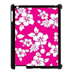 Pink Hawaiian Apple iPad 3/4 Case (Black)