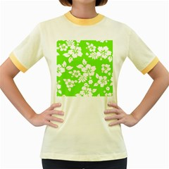 Lime Hawaiian Women s Fitted Ringer T-Shirts