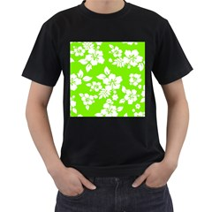 Lime Hawaiian Men s T-Shirt (Black) (Two Sided)