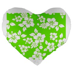 Lime Hawaiian Large 19  Premium Heart Shape Cushions