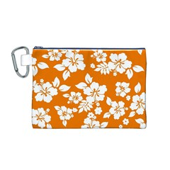Orange Hawaiian Canvas Cosmetic Bag (M)