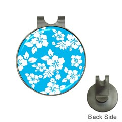 Light Blue Hawaiian Hat Clips with Golf Markers