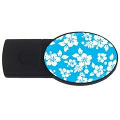 Light Blue Hawaiian USB Flash Drive Oval (4 GB)