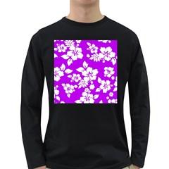 Purple Hawaiian Long Sleeve Dark T-Shirts