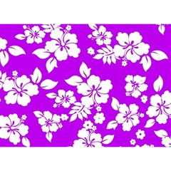 Purple Hawaiian Birthday Cake 3D Greeting Card (7x5)