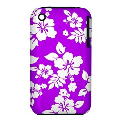 Purple Hawaiian Apple iPhone 3G/3GS Hardshell Case (PC+Silicone)