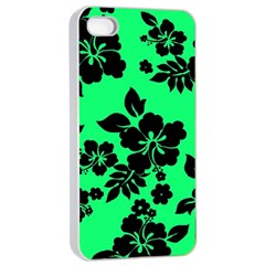 Dark Lime Hawaiian Apple iPhone 4/4s Seamless Case (White)