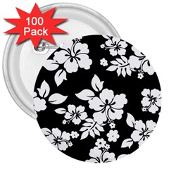Black And White Hawaiian 3  Buttons (100 pack)