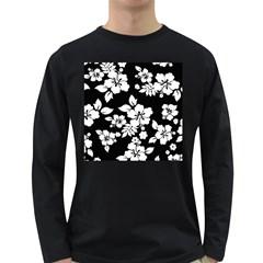 Black And White Hawaiian Long Sleeve Dark T-Shirts