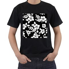 Black And White Hawaiian Men s T-Shirt (Black)