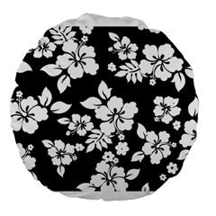Black And White Hawaiian Large 18  Premium Round Cushions