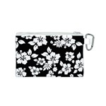 Black And White Hawaiian Canvas Cosmetic Bag (S) Back