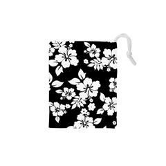 Black And White Hawaiian Drawstring Pouches (XS)