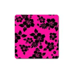 Dark Baby Pink Hawaiian Square Magnet