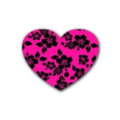 Dark Baby Pink Hawaiian Rubber Coaster (Heart)