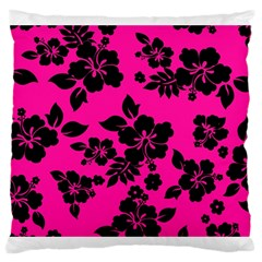 Dark Baby Pink Hawaiian Large Cushion Case (two Sides)