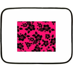 Dark Pink Hawaiian Double Sided Fleece Blanket (Mini)